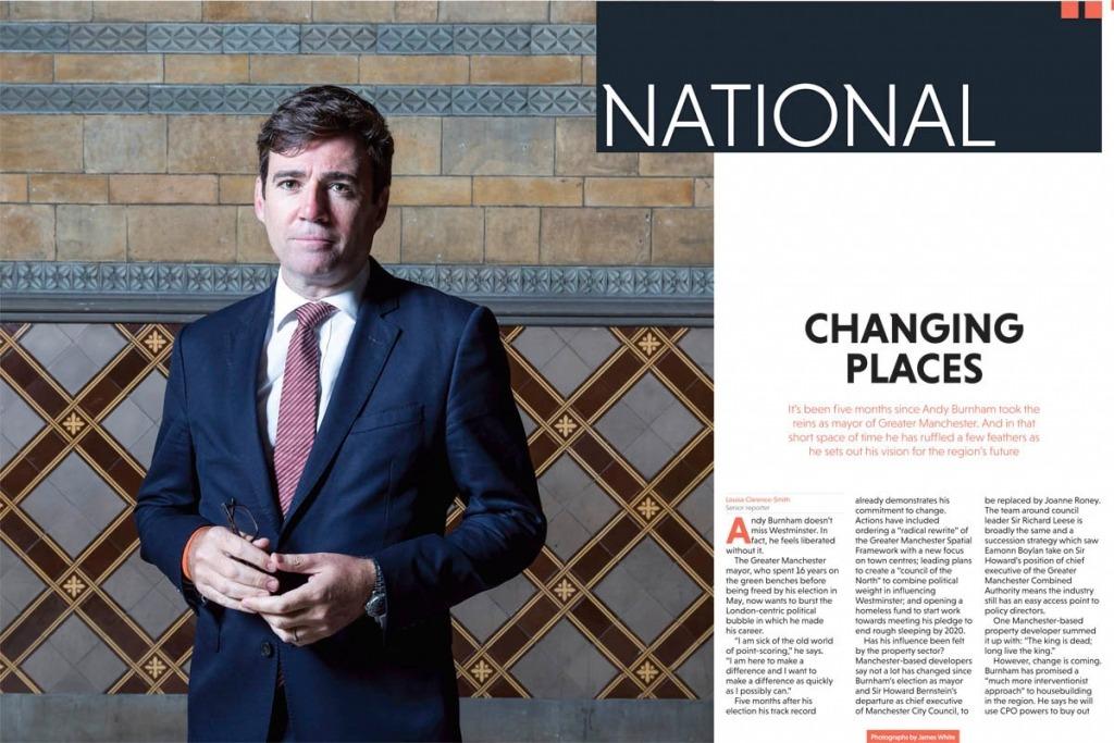 Andy Burnham Mayor of Manchester. Editorial portrait for Estate Gazette