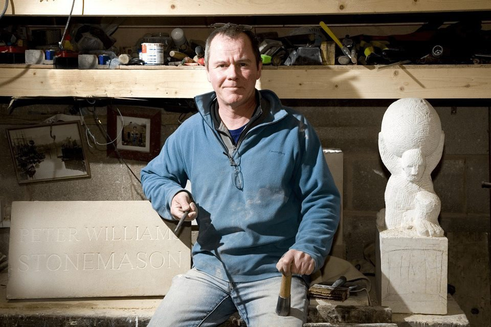 Image of Pete Williams Manchester based stone mason by editorial photographer James White.