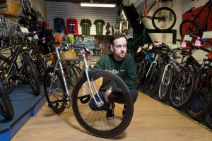 Editorial photography - Carbon Bike Wheel Building at Eddie Mcgraths Cycles in Manchester