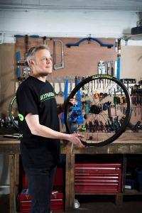 Portrait photographs of  Graham Stock at Eddie Mcgrath Bikes in Urmston Manchester