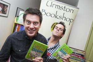 Professional photographer James White photographs Dick and Dom's visit Urmston Bookshop